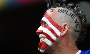 SALVADOR, BRAZIL - JULY 01: A fan of the United States enjoys the atmosphere prior to the 2014 FIFA World Cup Brazil Round of 16 match between Belgium and the United States at Arena Fonte Nova on July 1, 2014 in Salvador, Brazil. (Photo by Laurence Griffiths/Getty Images)