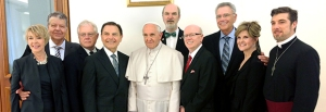 (RNS1-JULY 8) Pope Francis met with a group of American televangelists at the Vatican on June 24, 2014. For use with RNS-ROBISON-POPE transmitted July 8, 2014. RNS photo courtesy Kenneth Copeland Ministries